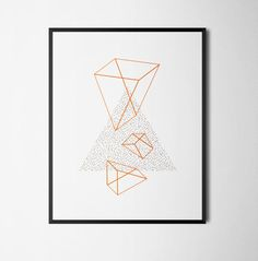 50's inspired graphic art minimalist print illustration Brown & Orange Two-Colour Geometric A3 Bauhaus by thingsbyJD