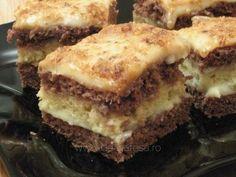 "Prăjitură ""Budapesta"" Romanian Desserts, Russian Desserts, Romanian Food, Romanian Recipes, Cookie Recipes, Dessert Recipes, Layered Desserts, Dessert Bars, I Foods"