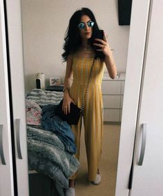 Yellow jumpsuit paired with some white pumps and a denim jacket! Yellow Jumpsuit, Designer Jumpsuits, Curtain Call, White Pumps, Summer Outfits, Pairs, Wedding Ideas, Denim, Casual