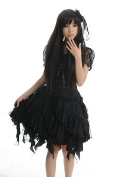 Blooms - Fashion Lolita Gothic Visual Punk Rock Ruffle Lace Dress 81096 (Large, Black) Blooms Online Shopping to see or buy click on Amazon here http://www.amazon.com/dp/B00BYD7DDO/ref=cm_sw_r_pi_dp_7-9Ltb1VQ1WACGGJ