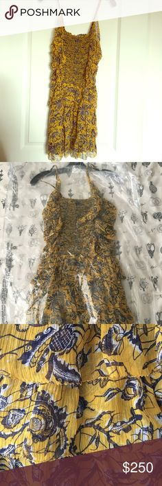 🐯🐯Isabel Marant Etoille silk dress 🐯🐯 100 % silk. Elastic top Ruffled skirt and sides Straps crisscross at back. Made in India. Isabel Marant Dresses Mini