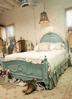 Beautiful bed...could I bring myself to add mouldings and paint the antique headboard/footboard?