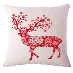 LeiOh Decorations Cotton Linen Square Christmas Red Deer Pattern Throw Pillow Case Sofa Cushion Cover 18 x 18Christmas Gifts ** Find out more about the great product at the image link.