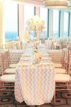 #chevron, #tablecloth, #sequins  Photography: Amalie Orrange Photography - amalieorrangephotography.com  Read More: http://www.stylemepretty.com/2014/07/14/glitter-wedding-at-the-citrus-club/