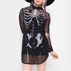 Bad To The Bone transparante korte jurk met kraag en skelet print zwart