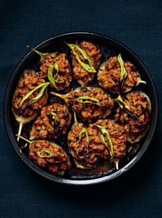 From my book, Istanbul: Recipes from the heart of Turkey - How to cook aubergines stuffed with lamb, photos by @Steve Joyce