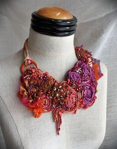 TROPICAL SUNRISE Beaded Textile Mixed Media Statement Necklace