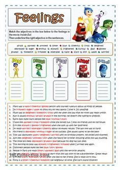 """Two vocabulary exercises to introduce some adjectives divided into five categories according to the five feelings shown in the movie """"Inside Out"""": joy, disgust, fear, anger and sad. You are free to editing the sentences depending on the level of your students.Key included.It can be used with this one as a reinforcement:https://en.islcollective.com/resources/printables/worksheets_doc_docx/inside_out_feelings_-_wordsearch/feelings-emotions/83640And here you are another one similar but…"""