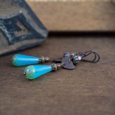rustic tribal earrings • oxidized copper • teardrop • boho • handforged • artisan • blue glass earrings • retro • long earrings • blue drops