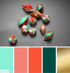 painted ornaments in mint, pink salmon, tangerine orange, forest green and gold | color palatte
