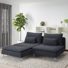 SÖDERHAMN Loveseat, with chaise, Samsta dark gray. If you like the way it looks you have to try it! The deep seats, moveable back cushions and suspension fabric make this seating very comfortable. Small Couch With Chaise, Small Couch In Bedroom, Söderhamn Sofa, Modular Sectional Sofa, Small Sectional, Ikea Family, Bed Slats, Comfortable Sofa, Sit Back And Relax