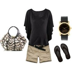Cute outfit; love this H&M; black top:) shorts are perfect length too!