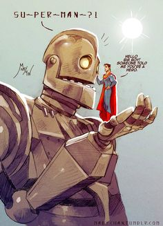 My Hero by MabyMin, Superman meets The Iron Giant Comic Kunst, Comic Art, Arte Nerd, The Iron Giant, Arte Robot, Drawn Art, Ecole Art, Man Of Steel, Steel Dc