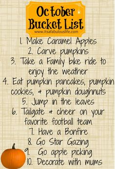 October Bucket List - Fun things we plan on doing with our family this month!  Come share what you are doing with your family!