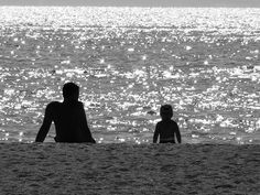 Sea, Beach, Black And White, Family, Father, Child