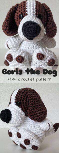 He's SOOOOOO CUTE!!!! What an adorable crochet puppy toy! Such a cute amigurumi dog pattern to DIY! #etsy #ad