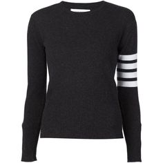 Thom Browne striped sleeve sweater ($1,725) ❤ liked on Polyvore featuring tops, sweaters, grey, striped sleeve sweater, stripe sweater, sleeve top, grey cashmere sweater and sleeve sweater