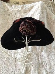 Vintage Velvet Floppy Hat with Rose by MyElegantMemories on Etsy 007a35ceb45