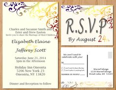 Printable Wedding Invitation Fall Colors White by WarmTidings, $15.00
