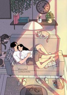 😍 Art by Love Cartoon Couple, Cute Love Cartoons, Anime Love Couple, Couples Comics, Anime Couples, Cute Couples, Cute Couple Drawings, Cute Couple Art, Aesthetic Art