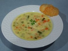This is a really lovely creamy soup, perfect on a cold Winter's evening. The parmesan crisps finish this soup off beautifully.