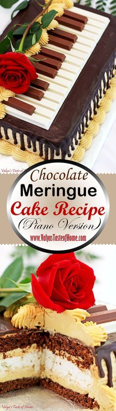 This Chocolate Meringue Cake Recipe (Piano Version) is absolutely incredible! Crunchy meringue layer, super soft chocolate sponge cake, delicious and light caramel cream and the chocolate ganache all in one bite. Your mouth will rejoice! Such a wonderful combination. Every bite melts in your mouth and makes you smile. All you need is a delicious cup of Latte.   www.valyastasteofhome.com