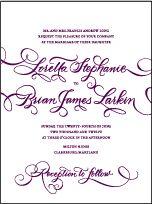 purple script letterpress invitation