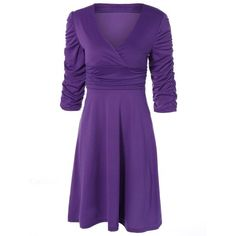 23.42$  Buy now - http://dicwn.justgood.pw/go.php?t=202166801 - Ruched V Neck Surplice Dress 23.42$