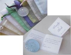 Custom cards with personalized messages and Organza Bag choices to coordinate with your event color theme.