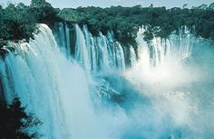 Kalandula Falls are waterfalls in the municipality of Kalandula, Malanje Province, Angola. On the Lucala River, the falls are 344 feet high and 1312 feet wide. They are one of the largest waterfalls by volume in Africa.