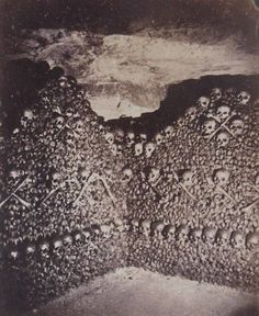 Photo of the Paris Catacombs by Nadar (Gaspard-Félix Tournachon, 1820-1910). They still look the same now, but I love old photography. It seems multi-layered; especially when compared to digital.