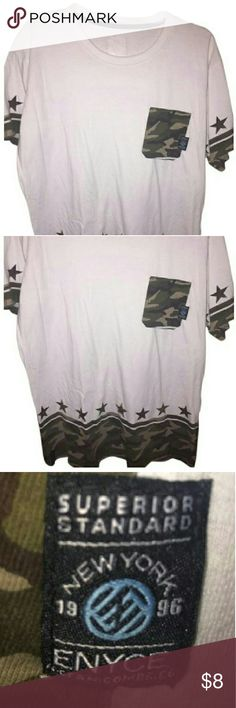 """T Shirt White/Camoflouge Green Item specifics:  Condition: Pre-owned   Measurements Laying Flat:  Bust (Armpit to Armpit): 20 1/2""""  Top to Bottom: 29""""  Brand: N/A  Sleeve Style: Short Sleeve Shirts Tees - Short Sleeve"""