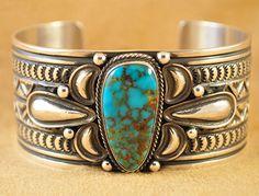 Andy Cadman Navajo Sterling Silver Kingman Turquoise Cuff Bracelet
