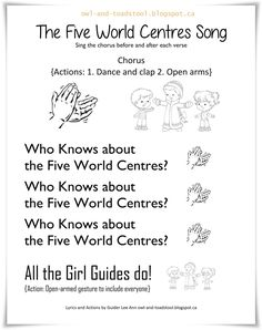 """The Five World Centres Song"" lyrics by Lee Ann Fraser 2016 owl-and-toadstool.blogspot.ca"