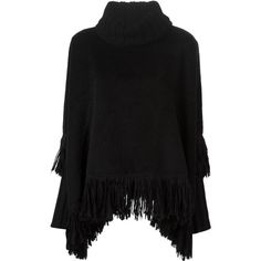 Dolce & Gabbana Fringed Poncho ($1,617) ❤ liked on Polyvore featuring outerwear, black, black poncho, dolce&gabbana, black fringe poncho e fringe poncho