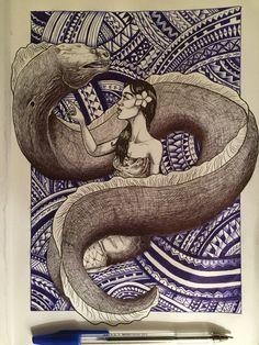 Old school samoan stories I was told about when I was a kid Sina the Eel Polynesian Art, Polynesian Culture, Polynesian Tattoos, New Zealand Tattoo, New Zealand Art, Rainbow Serpent, Maori People, Nz Art, Maori Art
