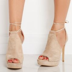 'Cersei' Lace Up Heel In Beige Faux Suede