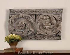 Tuscan Vintage Design Floral Wall Plaque Distressed