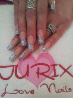 Extra Long Silver French Manicure