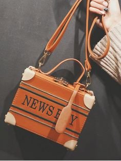 News Boy Embroidered Box Handbag - LIGHT BROWN Crossbody Bag, Tote Bag, Embroidery Patterns, Chanel, Shoulder Bag, Lettering, Brown, Bags, Accessories