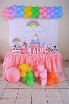 Lorena Carrera's media content and analytics Unicorn Themed Birthday Party, 2nd Birthday Party Themes, Valentines Day Birthday, Rainbow Birthday Party, Unicorn Party, Baby Birthday, Birthday Party Decorations, Rainbow Parties, Baby Shower Princess
