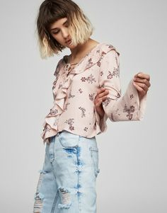 :Frilled top with print