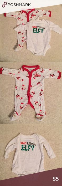 """Christmas outfits One NB Santa full onesie (cute Santa feet) by Carter's and one """"who you calling elf"""" onesie from Target. EUC Smoke FREE home Carter's One Pieces"""
