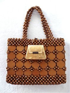 Vintage Roger Gimbel Purse with Gold Lipstick Purse Copper Beads Made in England
