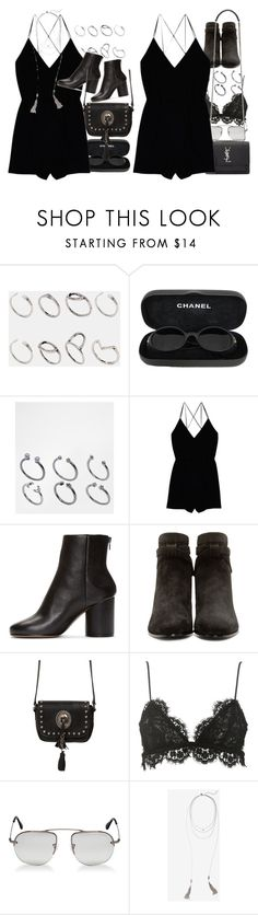 """""""Black romper"""" by nikka-phillips ❤ liked on Polyvore featuring ASOS, Chanel, Wilfred, Maison Margiela, Yves Saint Laurent, Isabel Marant, Prada and Express"""