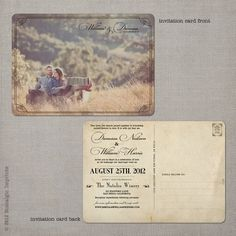 Personalised Photo Spring Rustic Vintage Postcard Wedding Invitations Packs Of10