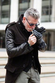 Nick Wooster leather sleeves coat & gloves + lighting cigarette  I like EVERYTHING BUT....the cigarette!!!