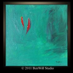 Red and Aqua Art | red and # turquoise abstract painting