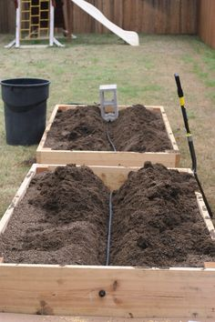 Subsurface irrigation system for raised garden beds, much more efficient water use. Keep the water where the roots need it. Link
