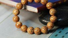 Bodhi Marked Longan Seed Mala Bracelet 10mm seeds natural wood | shangrilacraft - Jewelry on ArtFire